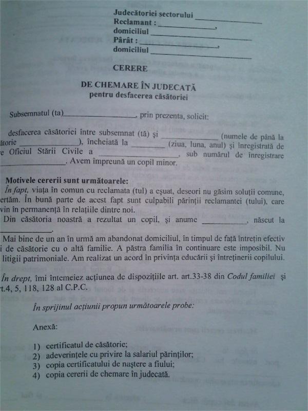 procedura de divort cu copil minor)