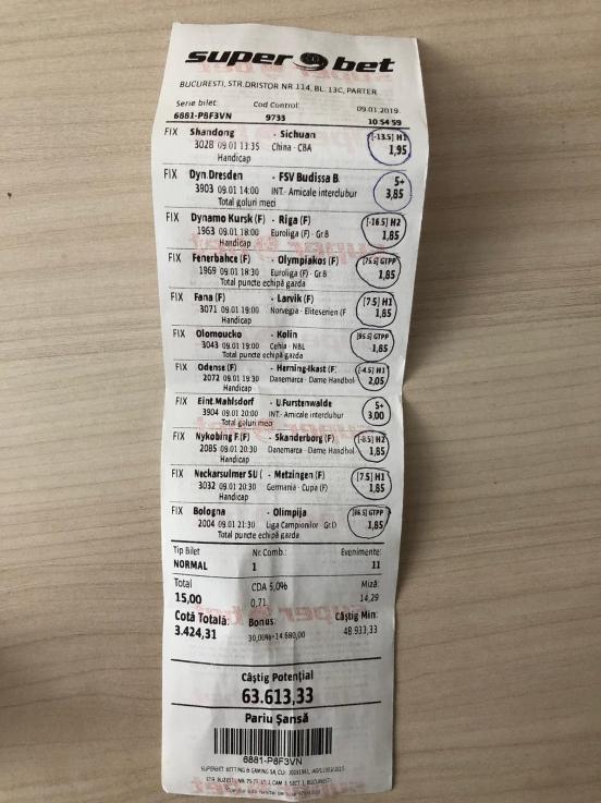 bărbat din horezu câştigă la pariuri aproape de euro cu 2 lei